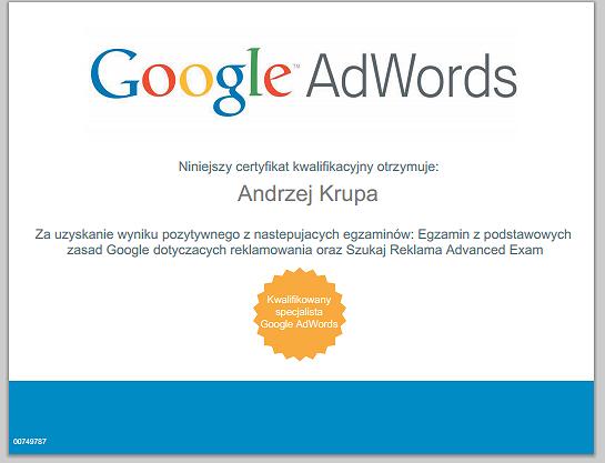 Adwords Certyfikat